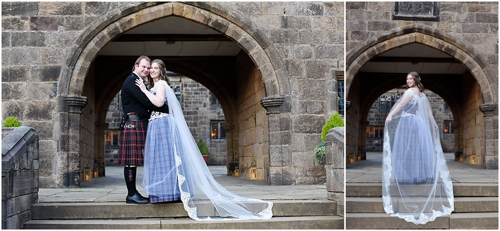 Bride and groom pictured in the courtyard at Hoghton Tower in Lancashire. Hoghton Tower wedding photography.