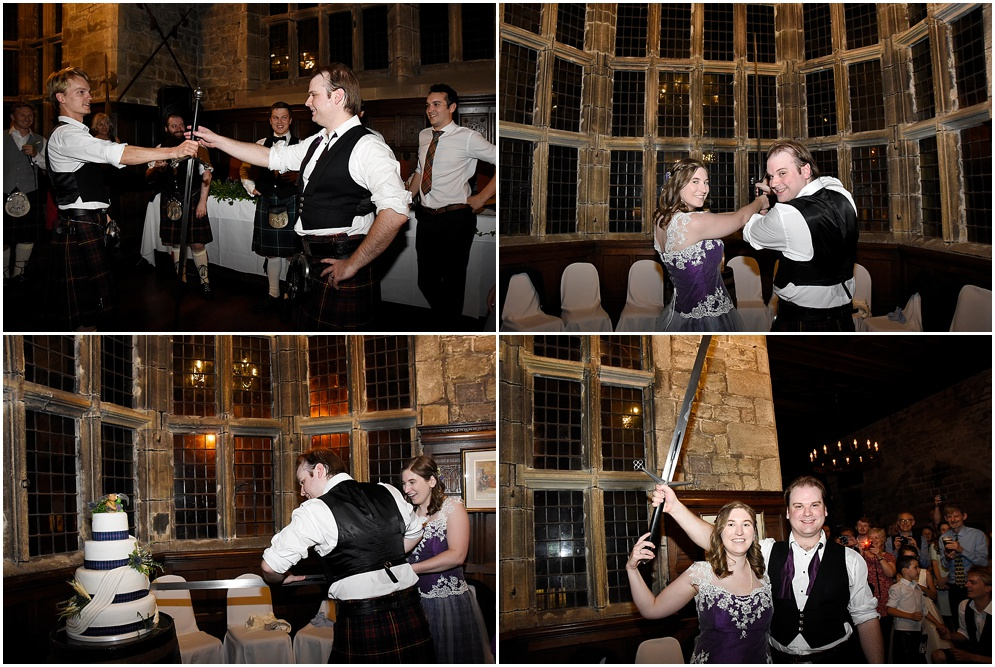 Bride and groom cut the cake with a sword at their wedding at Hoghton Tower in Lancashire.