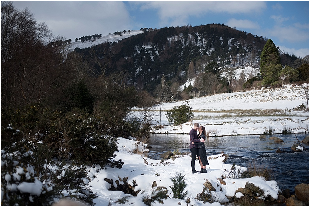 Wicklow wedding photography, couple pictured in the snowy mountains.