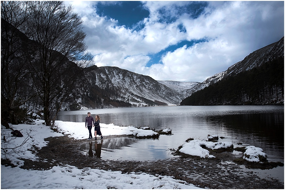 couple pictured in the snowy covered Wicklow mountains.