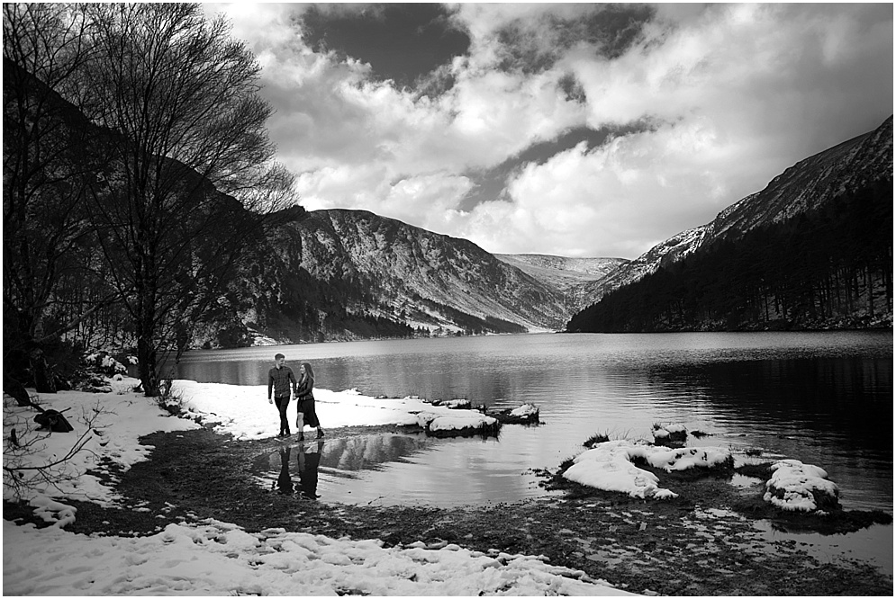 Couple pictured in Black and white at Glendalough in the Wicklow mountains.